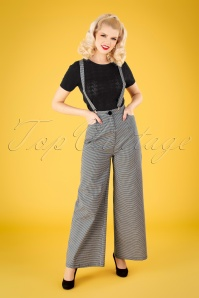 Collectif 32144 Glinda Houndstooth Trousers Black White 041MW