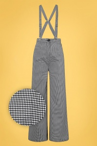 Collectif 32144 Glinda Houndstooth Trousers in Black and White 20200120 020LZ