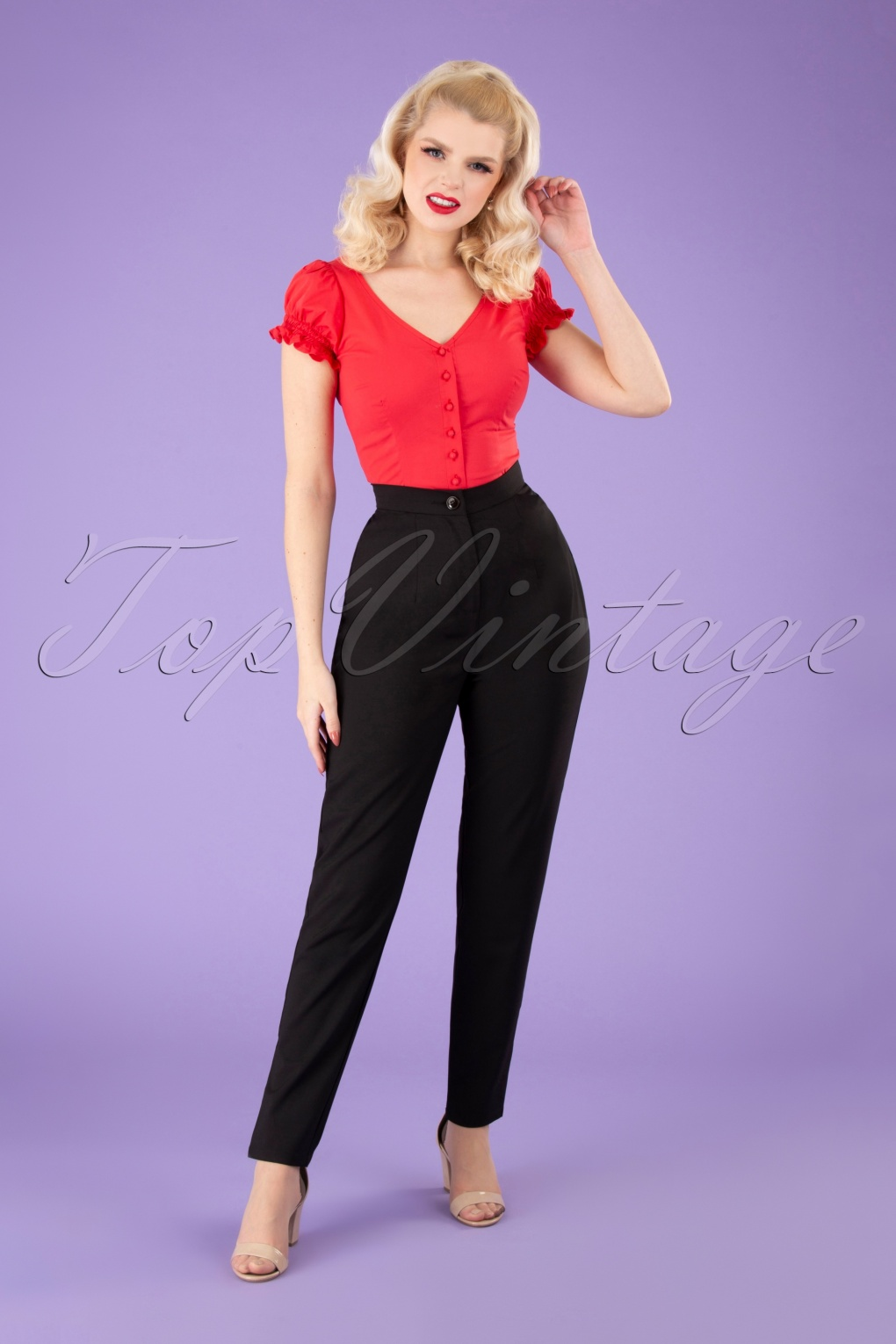Vintage High Waisted Trousers, Sailor Pants, Jeans 50s Louise Cigarette Trousers in Black £42.49 AT vintagedancer.com