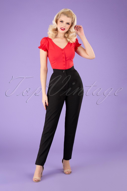 1950s Pants & Jeans- High Waist, Wide Leg, Capri, Pedal Pushers 50s Louise Cigarette Trousers in Black £39.90 AT vintagedancer.com