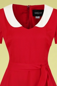 Collectif 32200 Mirella Plain Swing Dress Red 20191030 021L V