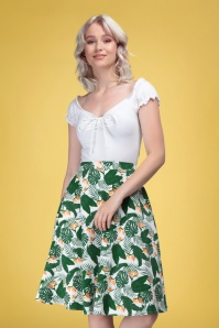 Collectif 32148 Mattie Bird of Paradise Swing Skirt White 20191030 020LW