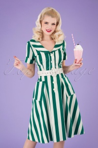 Collectif Clothing 50s Brette Striped Swing Dress in Green and White