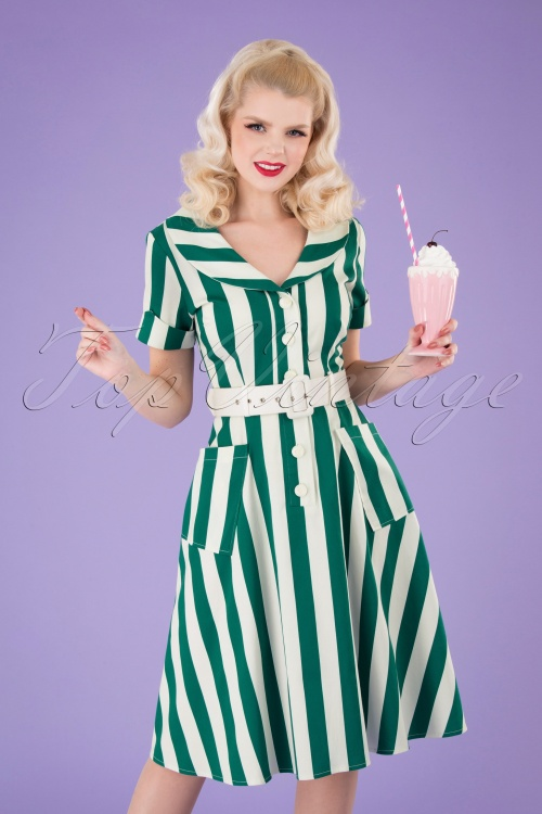 Collectif 32191 Brette Glade Stripe Swing Dress Green white 040M copy