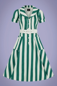 Collectif 32191 Brette Glade Stripe Swing Dress Green White 20200120 020L