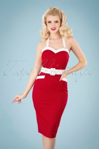 Collectif 32125 Georgie Nautical Halter Pencil Dress Red 040M W