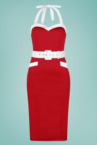 Collectif 32125 Georgie Nautical Halter Pencil Dress in Red 020L copy