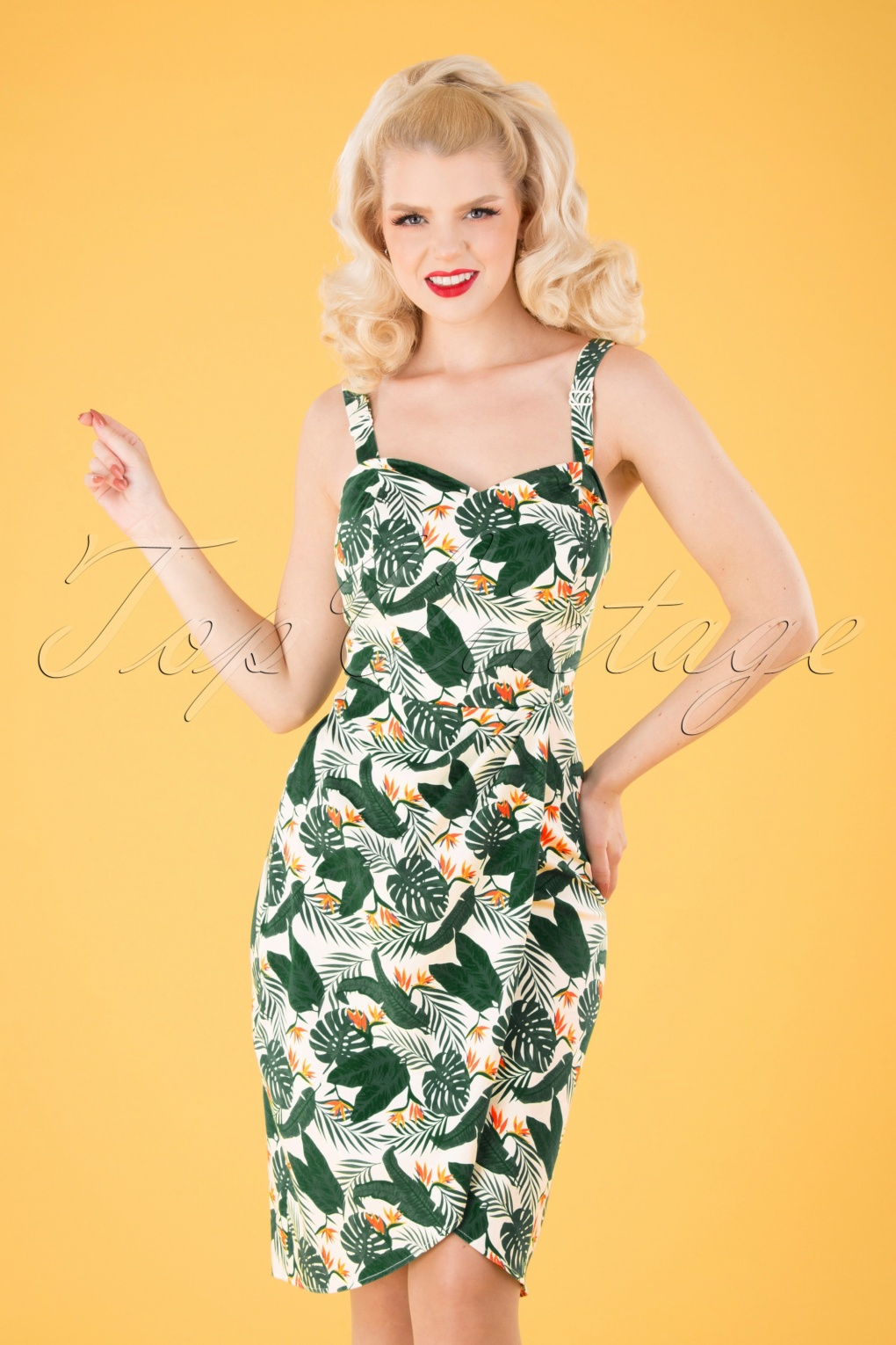 New Fifties Dresses | 50s Inspired Dresses 50s Mahina Bird Of Paradise Sarong Dress in White £43.36 AT vintagedancer.com