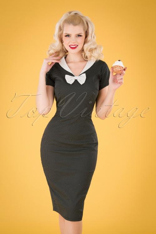 Collectif 32169 Clair Mini PolkaDot Pencil Dress Black White 040M copy
