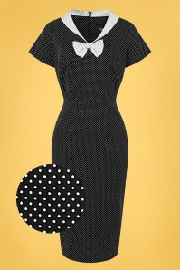 Collectif 32169 Clair Mini Polka Dot Pencil Dress Black White 20200120 020L Z