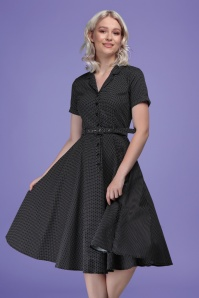 Collectif 32129 Caterina Mini Polka Dot Swing Dress Black 20191030 020L W