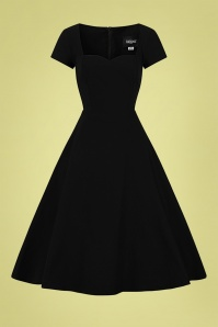Collectif 32183 Kristy Plain Swing Dress in Black 20200120 020L