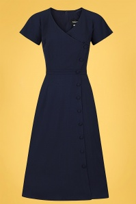 Collectif 32178 Cherilynn Plain Swing Dress Navy 20191030 021L W