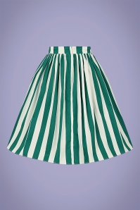 Collectif 32151 Jasmine Glade Stripe Swing Skirt in Green and White 20200120 021LW