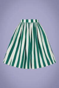 Collectif 32151 Jasmine Glade Stripe Swing Skirt in Green and White 20200120 020LW