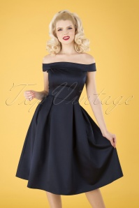 Collectif Clothing 50s Anastasia Satin Swing Dress in Navy