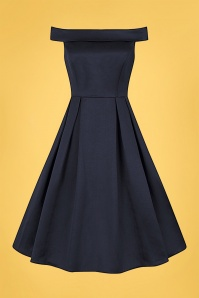 Collectif 32197 Anastasia Swing Dress Navy 20200120 020L W