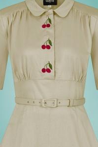 Collectif 32196 Doriane Cherry Swing Dress in Beige 20200120 022LW