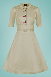 Collectif 32196 Doriane Cherry Swing Dress in Beige 20200120 020LW