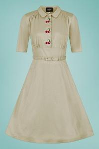 Collectif 32196 Doriane Cherry Swing Dress in Beige 20200120 020LW