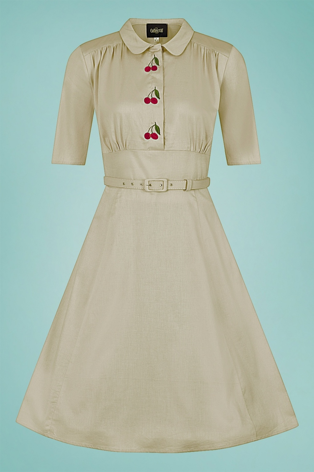 500 Vintage Style Dresses for Sale | Vintage Inspired Dresses 40s Doriane Cherry Swing Dress in Beige £69.30 AT vintagedancer.com