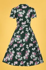 Collectif 32182 Caterina Vintage Bloom Swing Dress Green 20191030 022LW