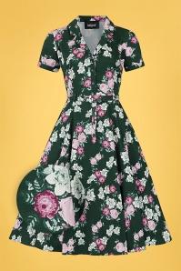 Caterina Vintage Bloom Swing Dress Années 40 en Vert Foncé