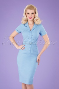 Collectif 32216 Caterina Pencil Dress Light Blue 040M W