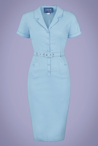 Collectif 32216 Caterina Pencil Dress in Light Blue 20200120 020L W