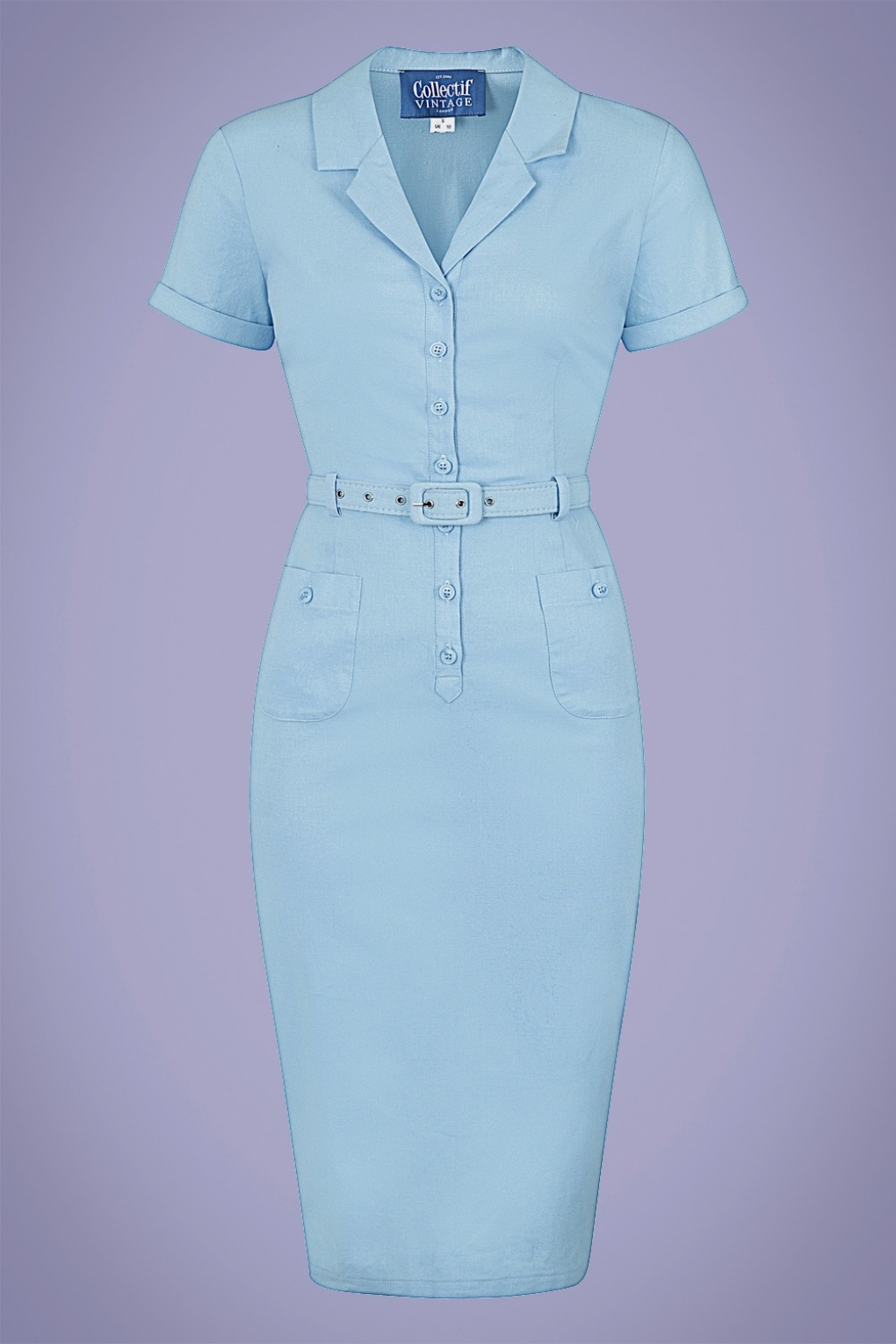 1950s Pencil Dresses & Wiggle Dress Styles 50s Caterina Pencil Dress in Light Blue £59.64 AT vintagedancer.com