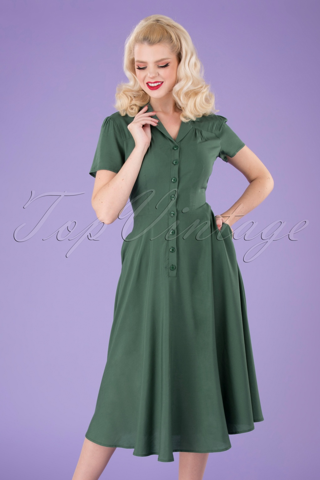 500 Vintage Style Dresses for Sale | Vintage Inspired Dresses 40s Gayle Plain Swing Dress in Green £57.86 AT vintagedancer.com