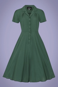 Collectif 32194 Gayle Plain Swing Dress in Green 20200120 020L W