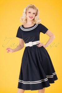 Collectif Clothing 50s Tina Nautical Swing Dress in Navy and White