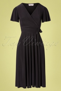 Irene Cross Over Swing Dress Années 40 en Noir