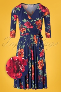 Vintage Chic for TopVintage 50s Caryl Floral Swing Dress in Navy
