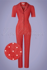 Verry Cherry 31500 Classic Jumpsuit Denim Dots Red20191230 006 Z