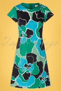 Cissi och Selma 60s Alice Diva Dress in Floral Green