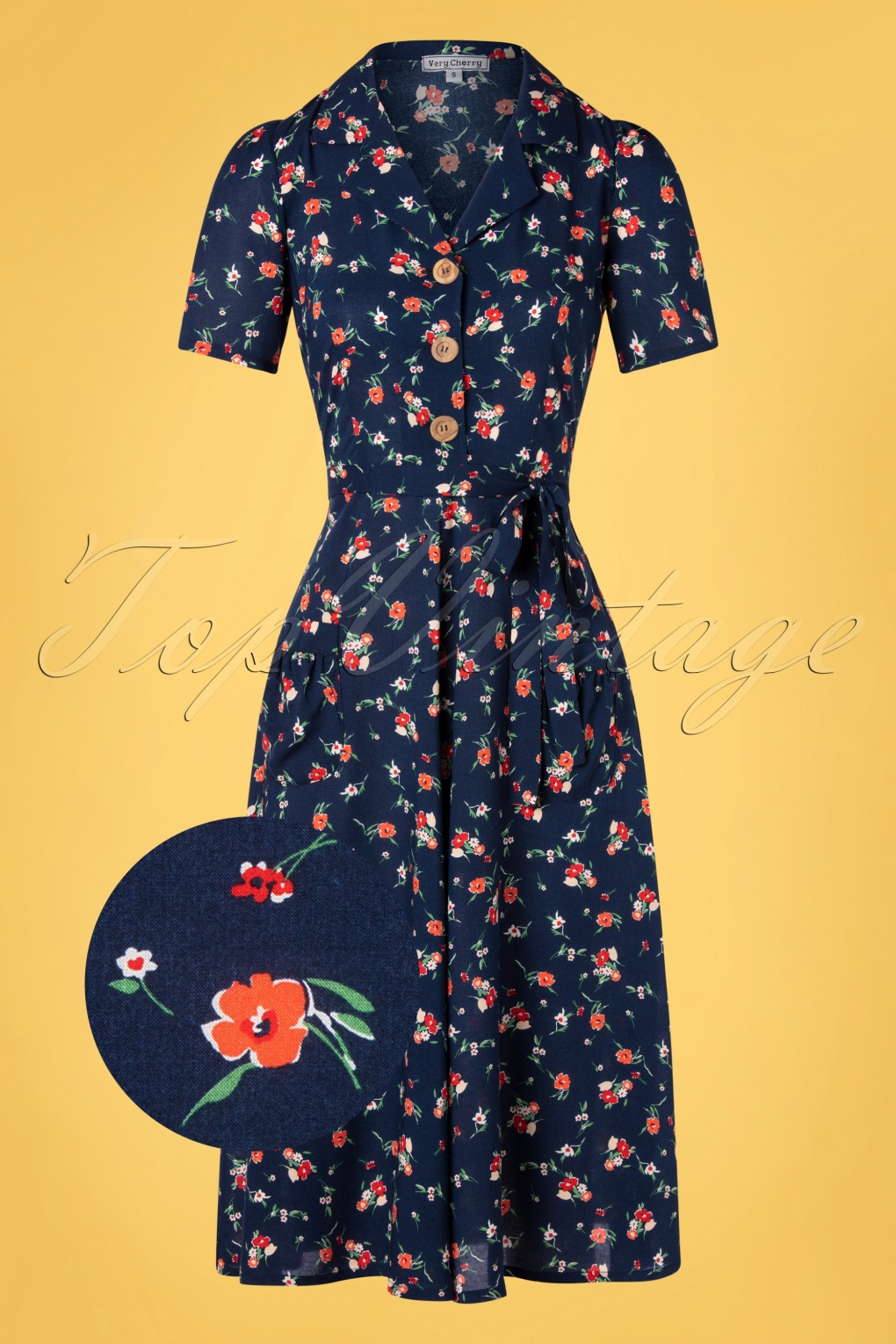 1940s Dresses | 40s Dress, Swing Dress 40s Primavera Revers Midi Dress in Navy £124.29 AT vintagedancer.com
