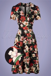 Hollywood Portobello Roses Circle Dress Années 40 en Noir