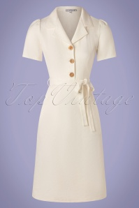 60s Revers Straight Linen Skirt Dress in Ecru