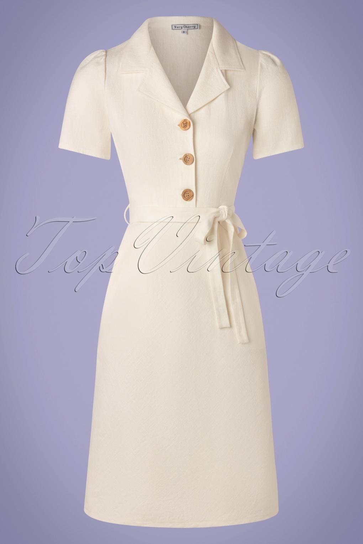 1960s Style Dresses, Clothing, Shoes UK 60s Revers Straight Linen Skirt Dress in Ecru £108.13 AT vintagedancer.com