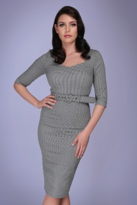 Collectif 32175 Katya Houndstooth Pencil Dress Black White 20191030 020L
