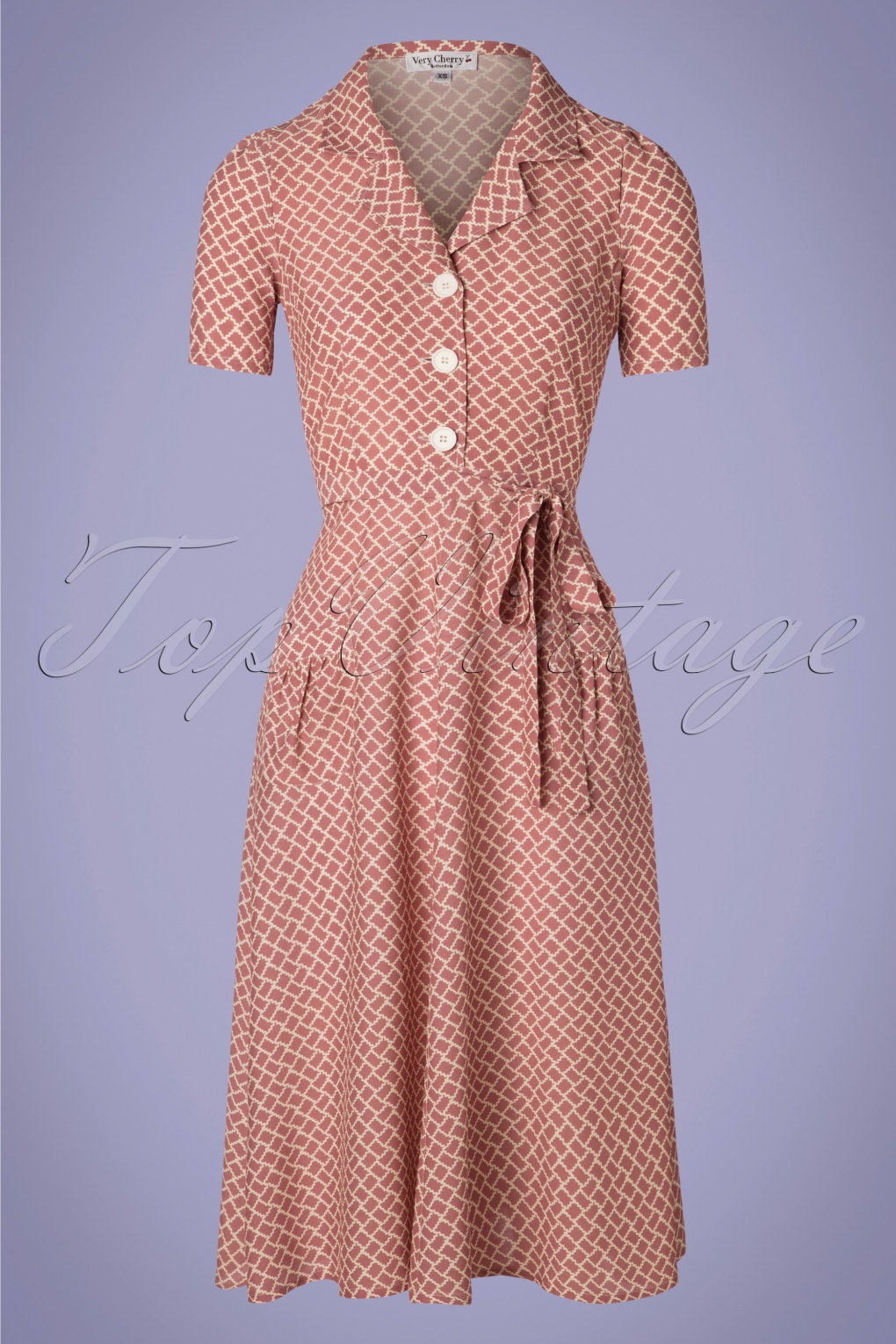 1940s Dresses | 40s Dress, Swing Dress 40s Rumba Revers Midi Dress in Dusty Pink £117.93 AT vintagedancer.com
