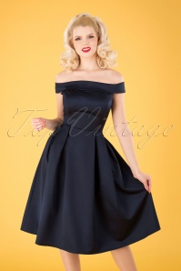 Collectif Clothing Anastasia Satin Swing Dress Années 50 en Bleu Marine