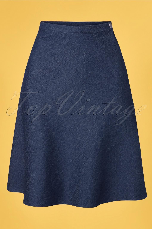 60s Skirts | 70s Hippie Skirts, Jumper Dresses 60s A-line Skirt in Dark Denim £61.41 AT vintagedancer.com