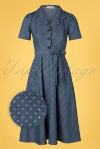 Very Cherry 40s Revers Midi Dots Dress in Light Denim Blue