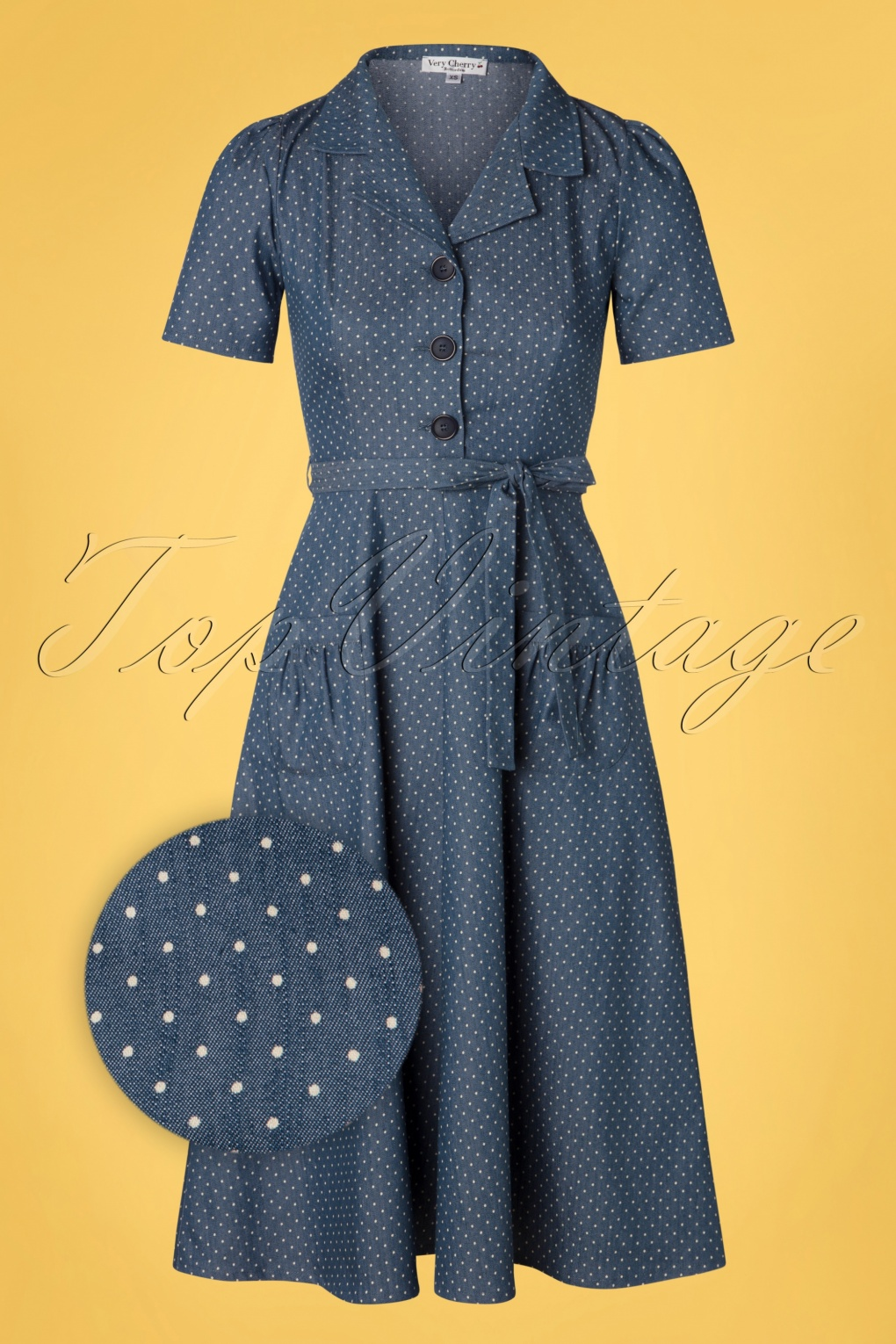1940s Dresses | 40s Dress, Swing Dress 40s Revers Midi Dots Dress in Light Denim Blue £119.97 AT vintagedancer.com