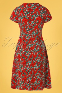 Louche 32805 Pencildress Zinnia Floral Red Black 012120 009W