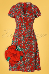 Louche 32805 Pencildress Zinnia Floral Red Black 012120 003Z