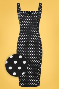 Collectif 32174 Anita Polka Dot Pencil Dress Black 20191030 021L Z